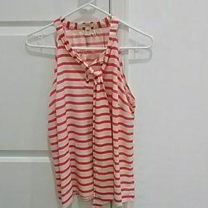 J crew stripe silk bow blouse